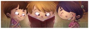 学校図書館で人気の本を読む子どもたち